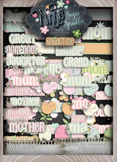 Winnie Sugar Sprinkles Word Art Bundle - Printable Crafting Digital Stamp Craft Scrapbooking Download