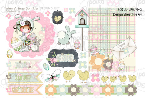 Winnie Sugar Sprinkles Springtime DESIGN SHEET 1 - Printable Crafting Digital Stamp Craft Scrapbooking Download