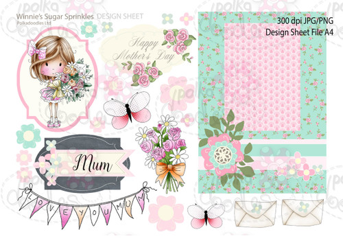 Winnie Sugar Sprinkles Springtime DESIGN SHEET 3 - Printable Crafting Digital Stamp Craft Scrapbooking Download