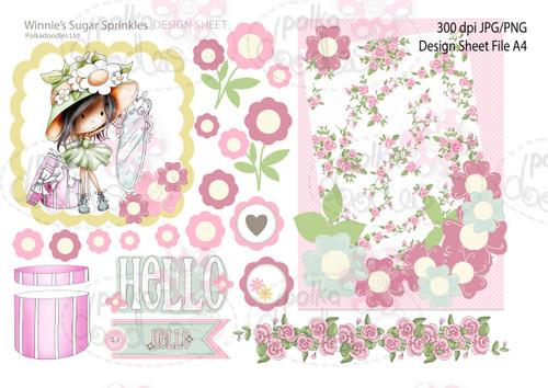 Winnie Sugar Sprinkles Springtime DESIGN SHEET 6 - Printable Crafting Digital Stamp Craft Scrapbooking Download