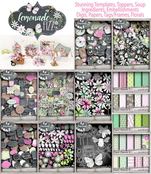 Lemonade Fizz Printables Download Craft & Scrapbooking Collection inc project templates