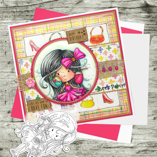 One for You! Winnie Fruit Punch Printable Digital Craft Stamp Download, digiscrap