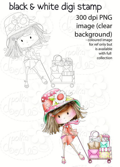 Busy Day Shopping - Winnie Fruit Punch Printable Digital Craft Stamp Download, digiscrap