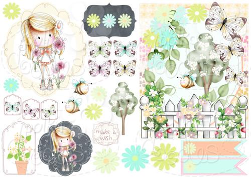 Dandelions - Winnie Fruit Punch Printable Digital Craft Stamp Download, digiscrap