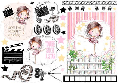 Dance Star - Winnie Fruit Punch Printable Digital Craft Stamp Download, digiscrap