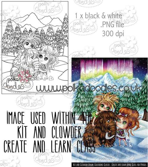 Kit & Clowder class image - Mammoth Friends/Dinosaur - Digital Stamp CRAFT Download