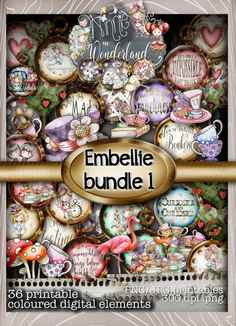 Winnie Wonderland Embellies 1&2 - Printable Digital download