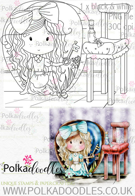 Winnie Wonderland Rabbit Hole - Printable Digital stamp download