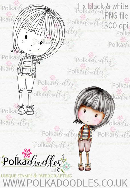 Winnie Wonderland Tweedledee - Printable Digital stamp download