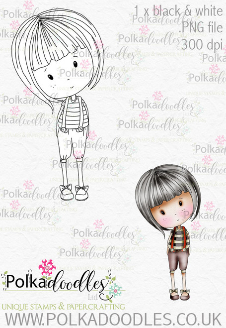 Winnie Wonderland Tweedledum- Printable Digital stamp download