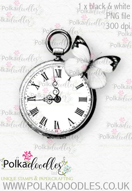 Winnie Wonderland watch - Printable Digital stamp download