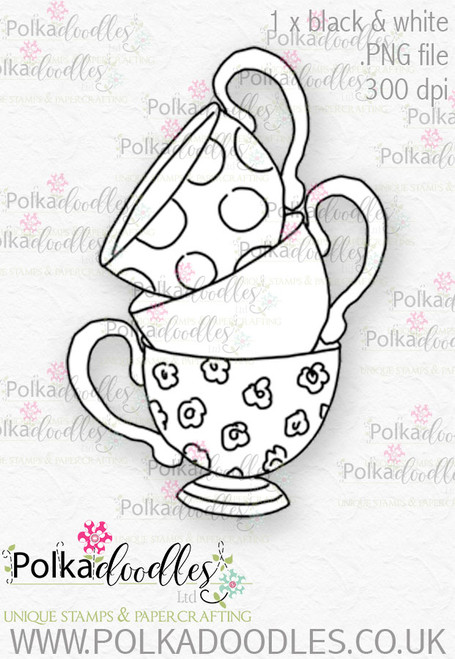 Winnie Wonderland Teacups - Printable Digital stamp download