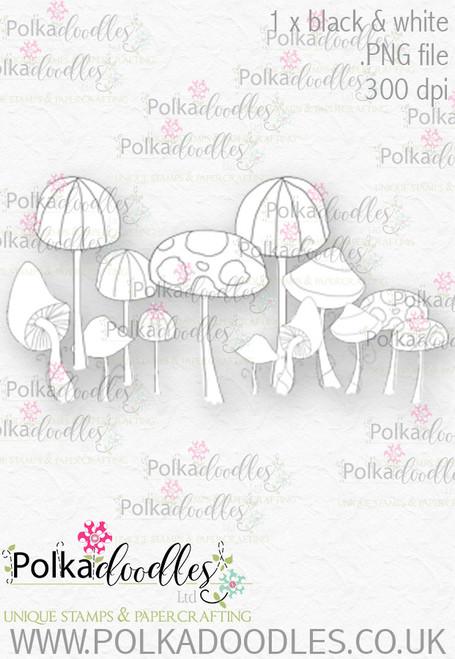 Winnie Wonderland Toadstools - Printable Digital stamp download
