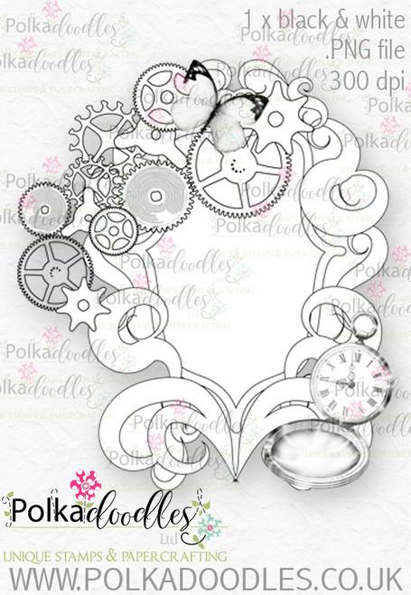 Winnie Wonderland Steampunk Mirror- Printable Digital stamp download