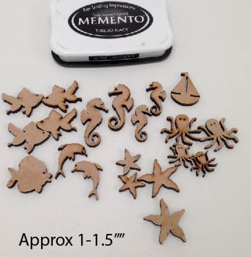 Nautical/Ocean/Sea/Beach - small MDF embellishments