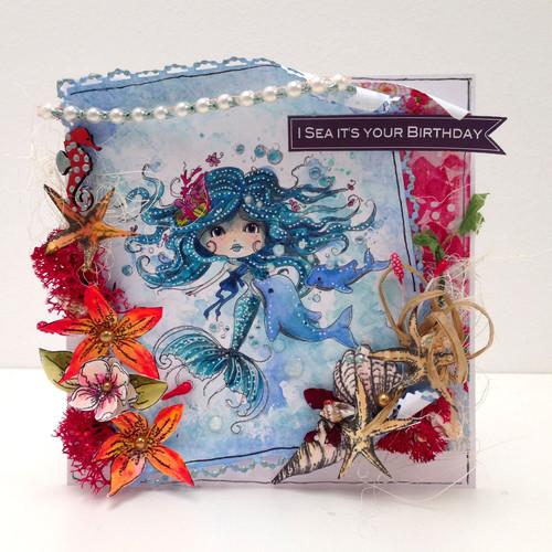 Meribelle mermaid Friends - digital craft stamp download