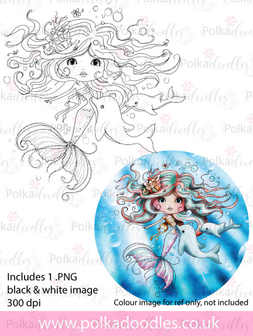 Meribelle mermaid Friends - digital craft stamp download