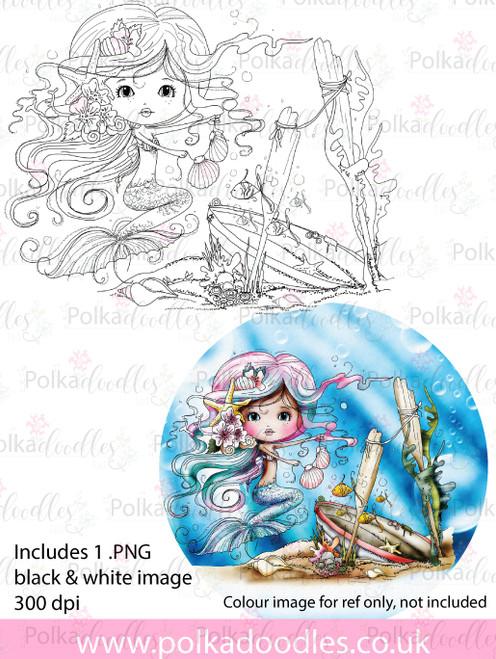 Meribelle Mermaid Housework - digital craft stamp download
