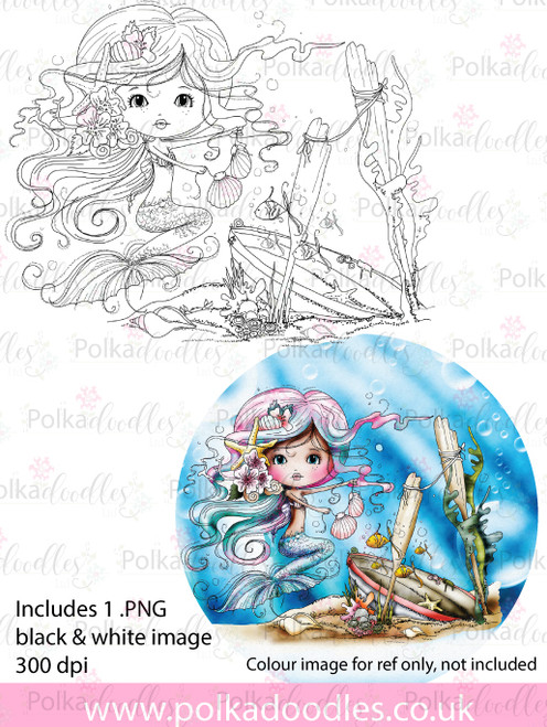Meribelle Mermaid Housework - digital craft stamp download