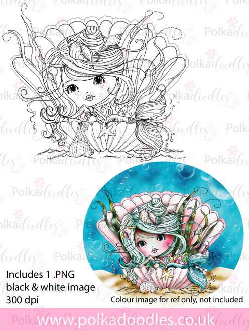Meribelle Mermaid Pearl - digital craft stamp download