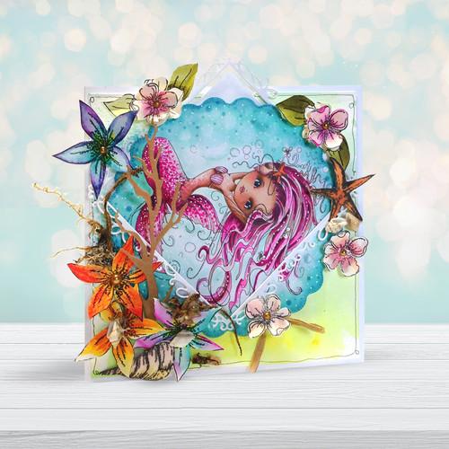 Meribelle Mermaid Pretty - digital craft stamp download