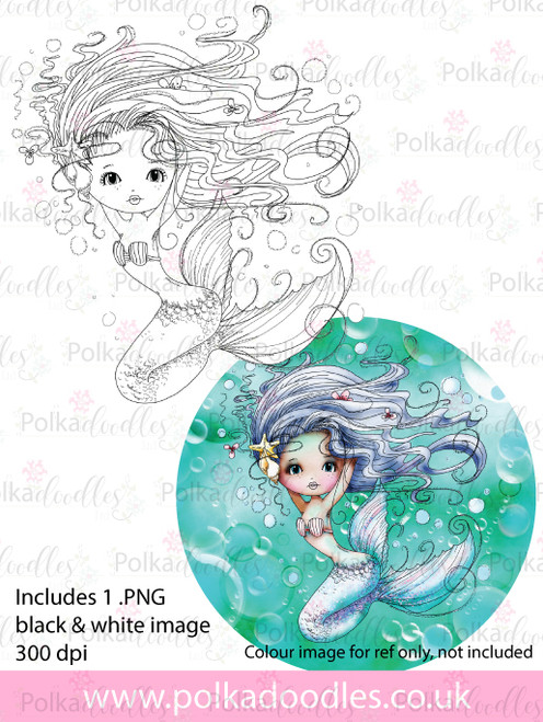 Meribelle Mermaid Pretty - digital craft stamp download