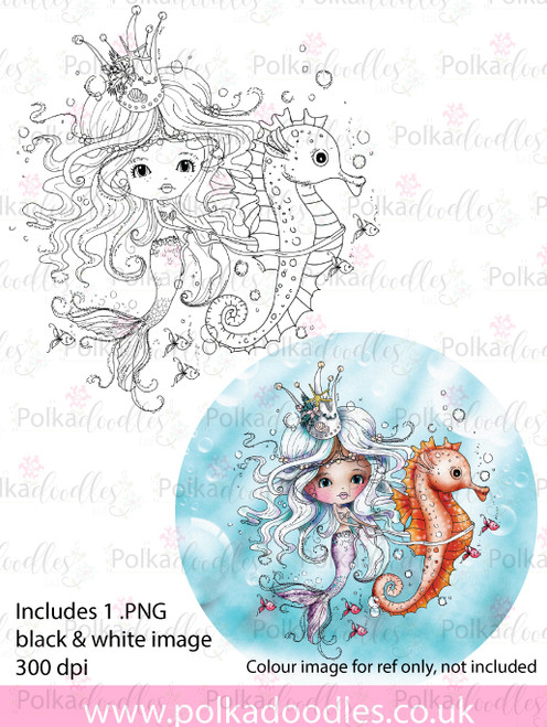 Meribelle Mermaid Seahorse - digital craft stamp download