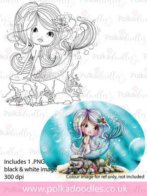 Meribelle Mermaid Swishy Tail - digital craft stamp download