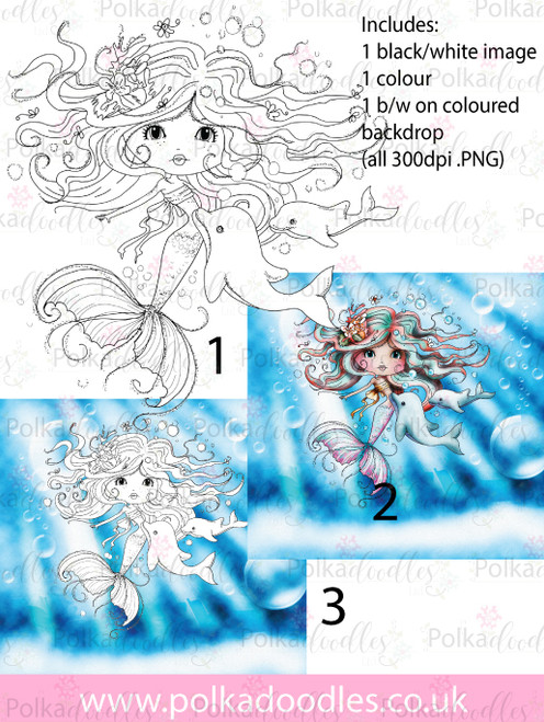 Meribelle mermaid Friends - 3-for-2 digital craft stamp download