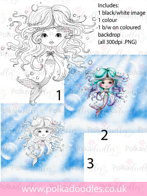 Meribelle Mermaid 3-for-2 digital craft stamp download