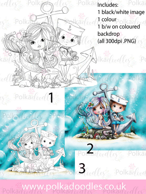 Meribelle Mermaid Hello Sailor.. 3-for-2 digital craft stamp download