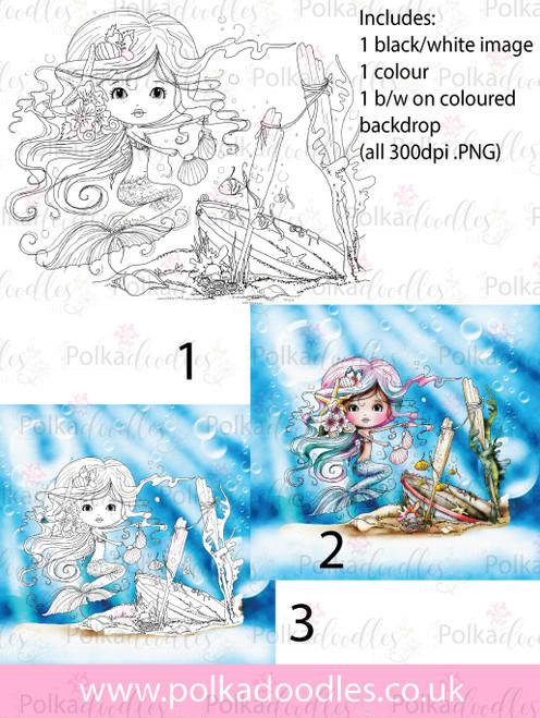 Meribelle Mermaid Housework -3-for-2digital craft stamp download