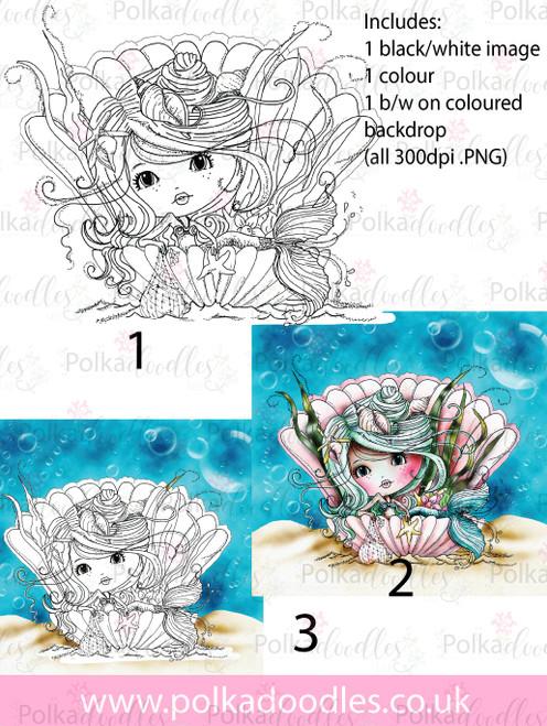 Meribelle Mermaid Pearl 3-for-2digital craft stamp download