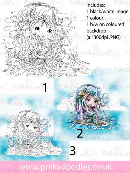 Meribelle Mermaid Rock It 3-for-2 digital craft stamp download