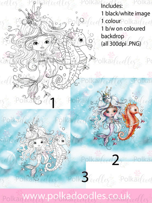 Meribelle Mermaid Seahorse 3-for-2 digital craft stamp download