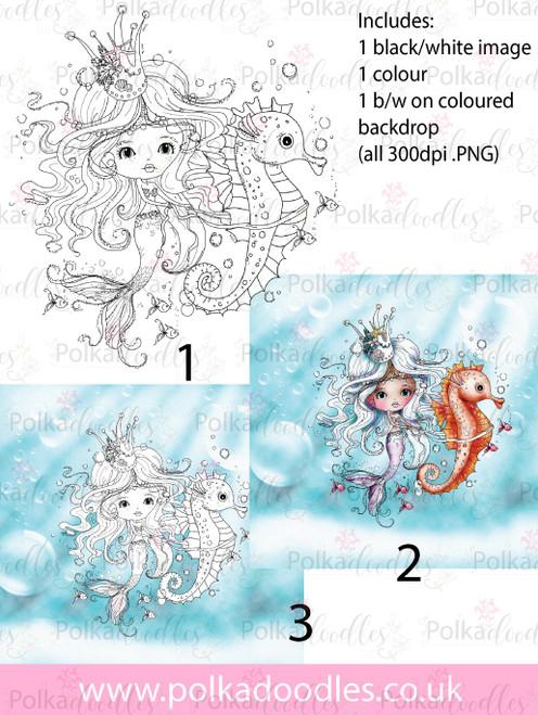 Meribelle Mermaid Seahorse 3-for-2 digital craft stamp download