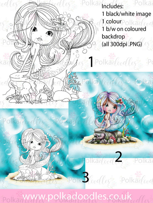 Meribelle Mermaid Swishy Tail 3-for-2 digital craft stamp download