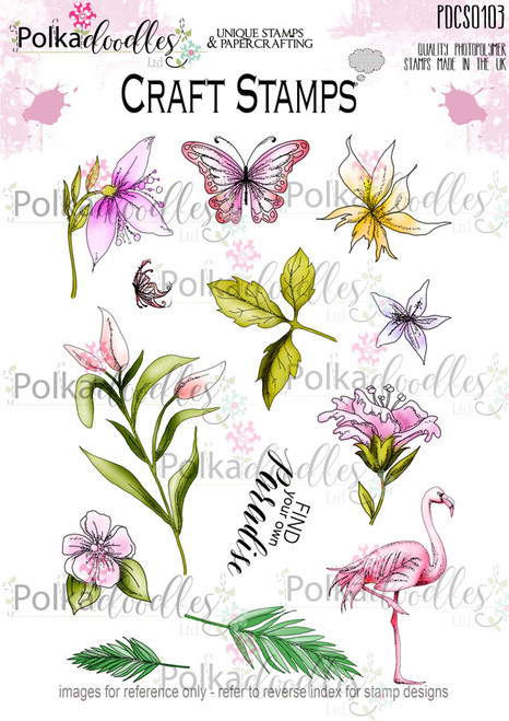 Tropical Paradise Flamingo Clear Stamp set