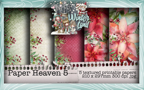 Winnie Winterland - Paper Heaven 5 digital craft papers download
