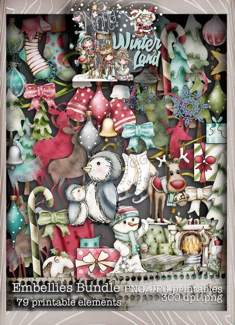 Winnie Winterland - Embellies digital craft papers download