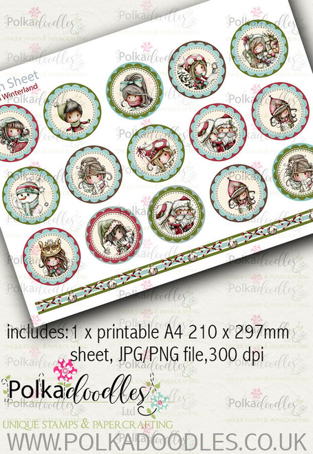 Winnie Winterland - Design Sheet 13 digital craft papers download