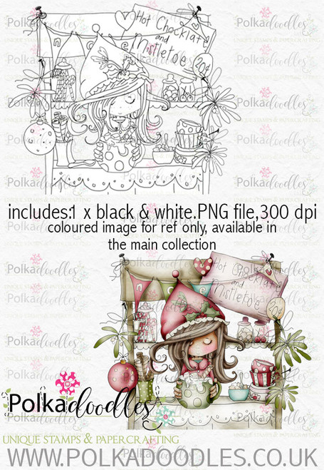 Winnie Winterland - Hot Chocolate digital craft stamp download