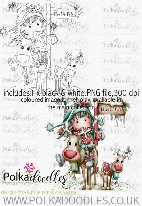 Winnie Winterland - North Pole digital craft stamp download