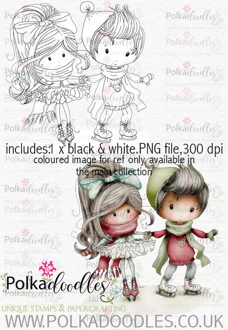 Winnie Winterland - Skating around digital craft stamp download