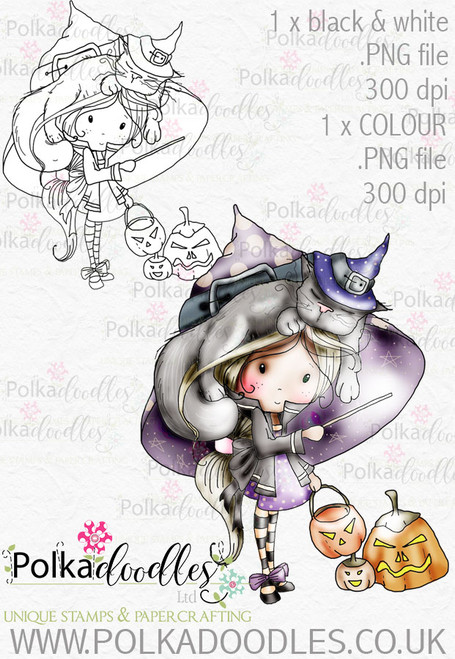 Winnie Trick or Treat Halloween Witch download 2 digital stamps
