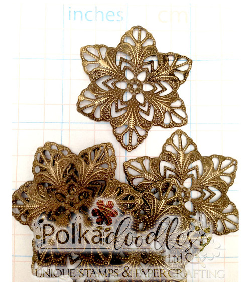 5 Bronze (Design 2) Filigree Flower Wraps/Embellishments