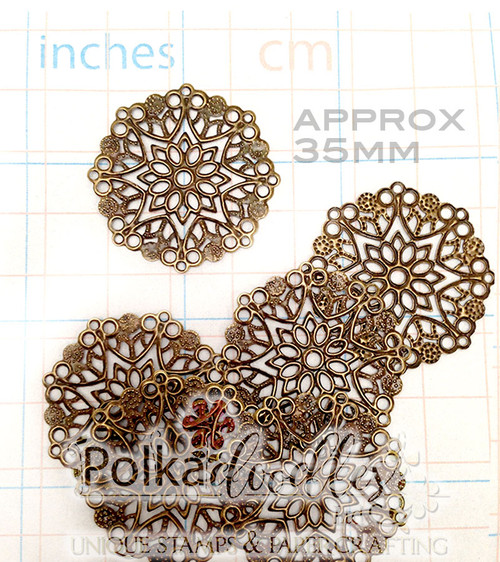 10 Bronze Tone Filigree Flower Wrap Embellishments 35mm