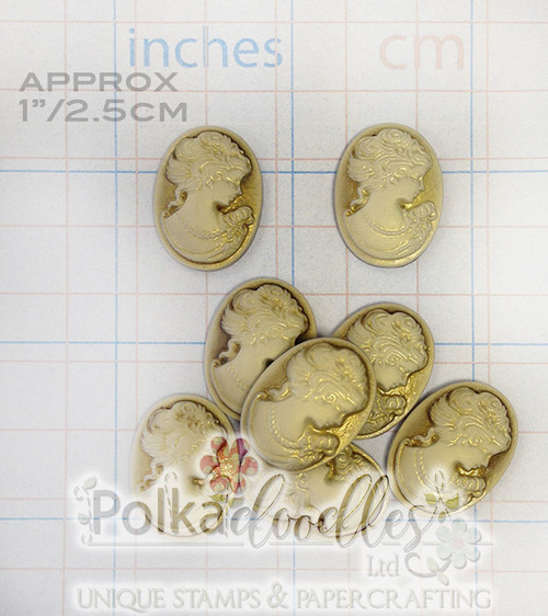 """2 Vintage Resin Cameo/Cabochons 1"""""""