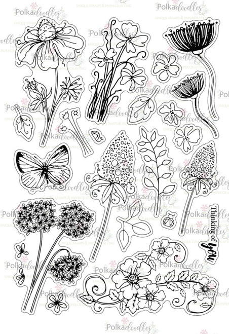 Bella Fleur A5 large Clear Stamp Set