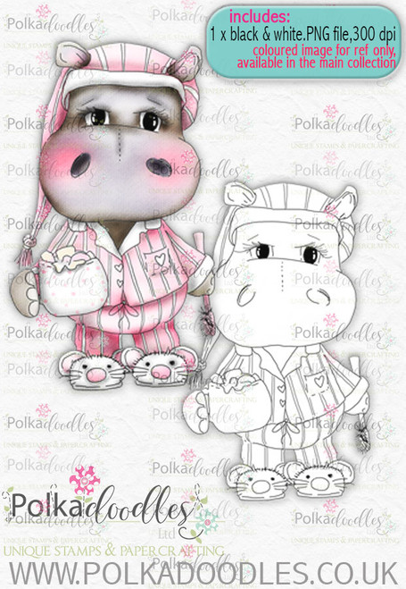 Helga Hippo Bedtime - download digi stamp